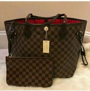 Louis Vuitton Neverfull MM Damier handbag Tote Set